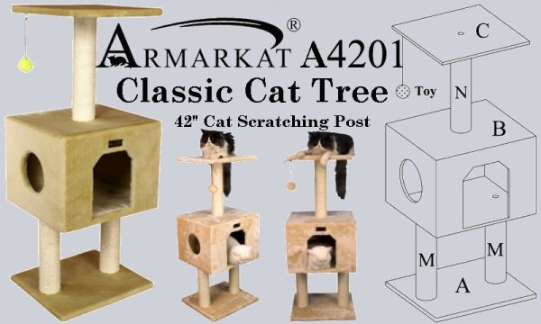 Armarkat A4201 Classic Cat Tree 42 Inch Cat Scratching Post.