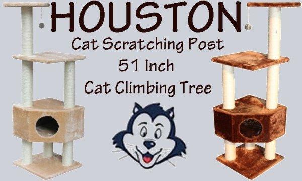 Houston Cat Scratching Post 51 Inch Cat Climbing Tree.